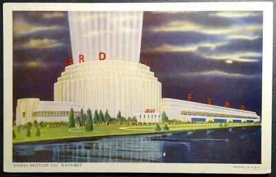 Postcard Advertising Ford Motor Co Exposition Building 1934 World's Fair Chicago