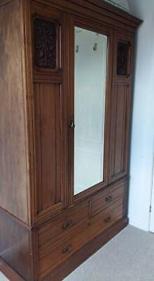 Antique Victorian Edwardian Carved Double Wardrobe Mirror Door
