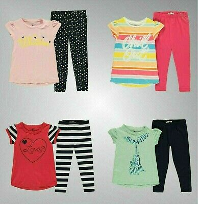Girls Crafted Cotton Frilled T Shirt And Leggings Set Sizes from 1 to 7 Yrs