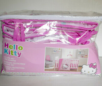 Hello Kitty Crib Bumper Sanrio Pink Reversible Traditional Padded Baby Bedding