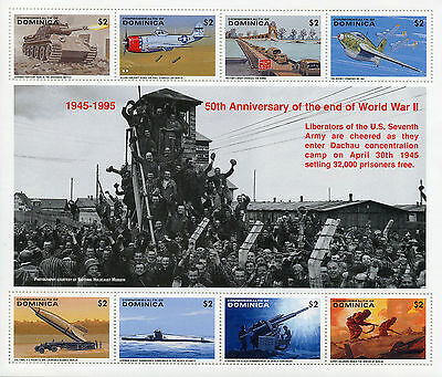 Dominica 1995 MNH WWII WW2 VE Day End World War II 8v M/S Tanks Aviation Stamps