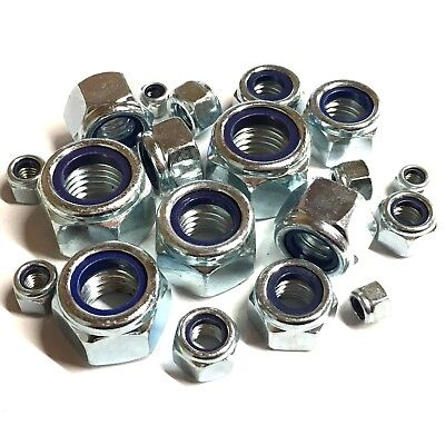 8mm 10mm 12mm 14mm 16mm FINE PITCH T TYPE NYLOC NUTS Lock Nut Zinc Plated DIN985