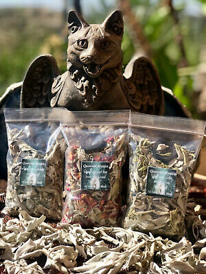 Smudge Kit-Loose Leaf Incense Blends,White Sage,Red Rose,Lavander,Cedar Berries