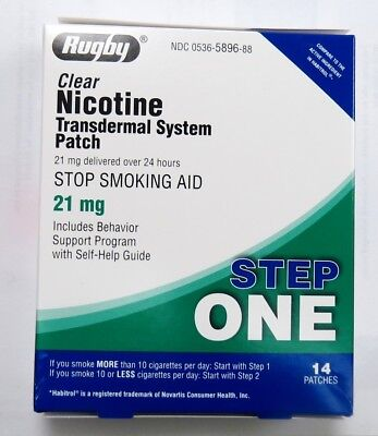 Rugby Nicotine Transdermal System 14 Clear Patches Step 1 (21mg) Exp 02/21+