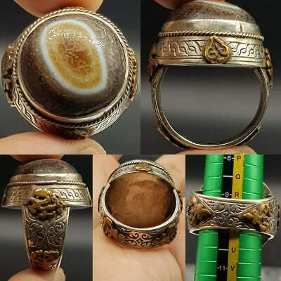 Old Beautiful Banded agate Sulaimany Yemeni Stone Silver Ring  # 17
