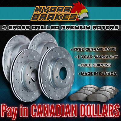 FITS 2007 2008 2009 2010 2011 BMW 335XI Drilled Brake Rotors CERAMIC SLV
