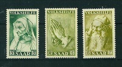 Germany Saar 1955 National Relief Fund full set of stamps. Mint. Sg 362-364.