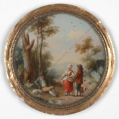 "Jean Louis Demarne-Attrib. ""Scene at the country road"", miniature,ca. 1800"