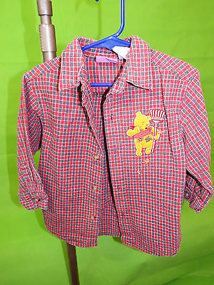 Disney Kids headquarters WINNIE THE POOH Plaid Red Long Sleeve Shirt Size 4