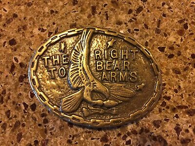 Belt Buckle 2nd Second Amendment Right to Bear Arms Eagle Gun Brass? USA