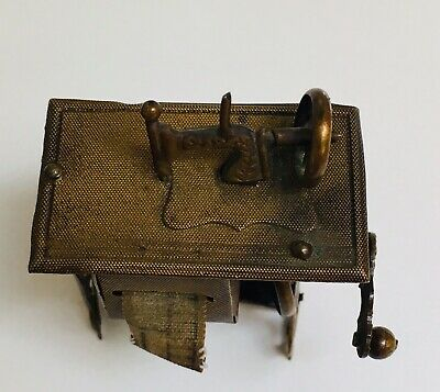 A RARITY! Late 1800's Figural Brass Tinplate Treadle Sewing Machine Tape Measure