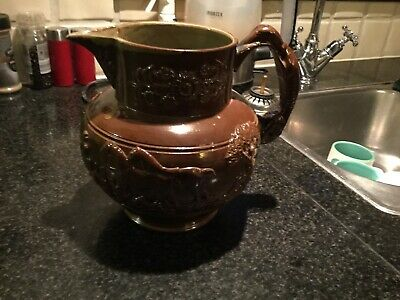 """Antique Coladine Large Brown Earthenware Jug  8"""" Tall"""