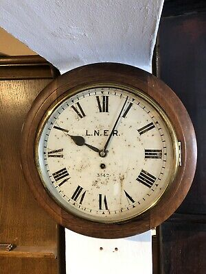 "ORIGINAL Antique Mahogany Railway Wall Clock, 12"" Dial Fusee"
