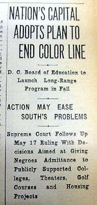 1954 newspaper Washington DC begins to END JIM CROW racial SEGREGATION of Blacks