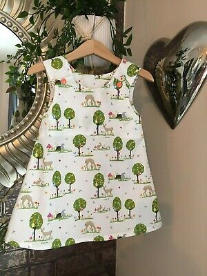 girls dress handmade pinafore dress age 9/12 months summer dress
