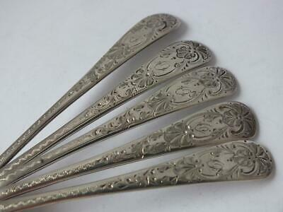 Pretty Set of 5 Antique Solid Sterling Silver Tea Spoons 1907/ L 12.8 cm. 95 g