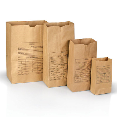NEW! Forensics Source 3-0021 Paper Evidence Bags Style 4, Bundle of 100