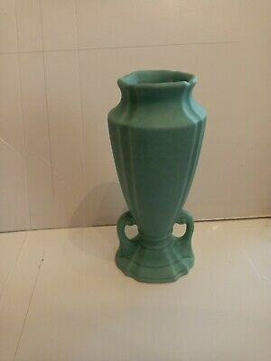 Antique Arts And Crafts Movement art deco Matte Green Pottery Vase