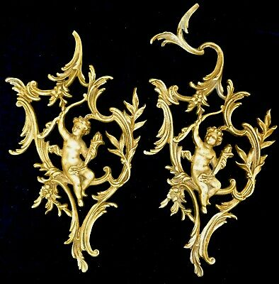 Pair Of Large French Gilded Brass Decors Mounts Pediments Cherubs Angels