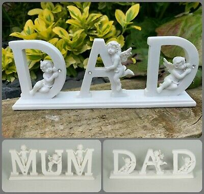 Mum Dad White Diamante Memorial Cherub Plaque Grave Home Ornament Remembrance
