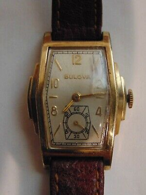 BULOVA  ART DECO 1930sTRI-STEPPED 37mm X 27mm GOLD COLOR CASE RUNNING