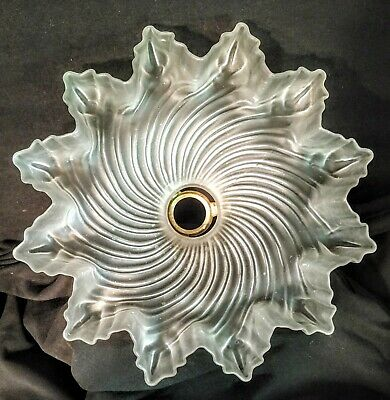Vintage French Frosted Glass Ceiling Shade Ruffled Edges, Fluted Pattern 10 3/8""