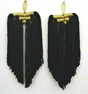 """2 - Black With Gold Tassels - 4.5"""" Long - New"""