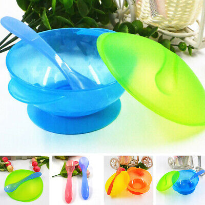 Baby Kids Suction Bowl Temperature Colour Changing Spoon Feeding Tableware Set