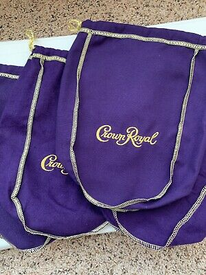 Lot of 4 Crown Royal Purple Gold Original Drawstring Felt Bags 750 ML