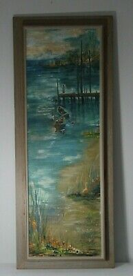 Vintage Signed Oil on Canvas Boats Docked on Wicomico River Signed Louise Morris