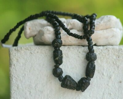 Ancient Roman Glass Beads Old Necklace 1 Strand 1800+Years Black Color