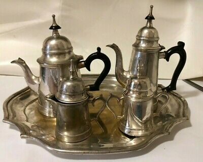 Vtg William Adams Towle 5 Piece Silver Plate Tea Set and Tray
