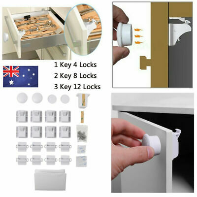 Invisible Magnetic Cabinet Drawer Cupboard Locks Safety Proofing for Baby Kids