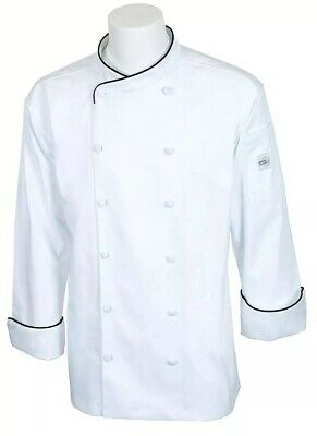 Mercer Culinary Men's Chef Jacket (Scoop Neck) White w/ Black Piping
