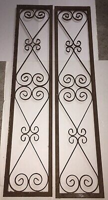 2 Vintage Scrolled Wrought Iron Architecture Salvage Panels Black Rustic Decor