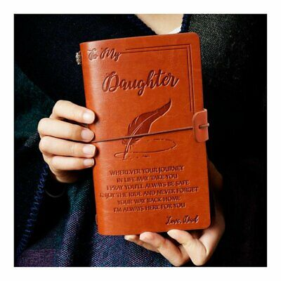 To My Daughter Where Ever Love Dad Engraved Leather Journal Notebook Diary