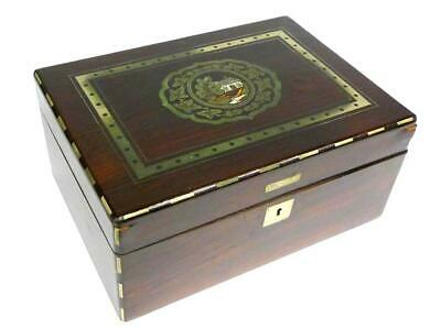 Cigar Box Mother of Pearl Inlay Wood um 1890 inside Embroidered