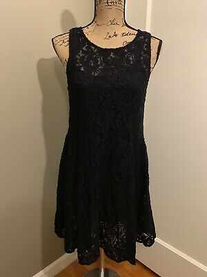 FREE PEOPLE Women's Black Floral Lace Overlay And Slip Dress Size M Medium