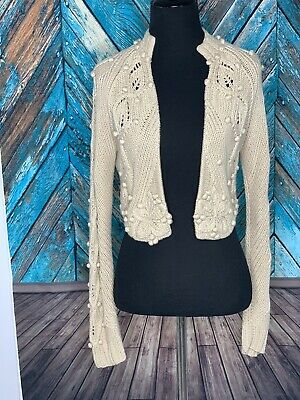 WORTH Beige Pom Pom Floral Cable Knit Cropped Open Cardigan XP Retails $248.00