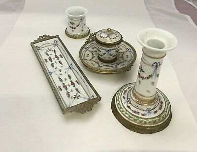 Antique Josephine Porcelain Desk Set - Inkwell, Pen Tray, Pen Wipe, Candle Stick
