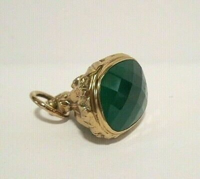 Antique Carved Gold Fld Amethyst Faceted Green Agate Fob Charm Pendant