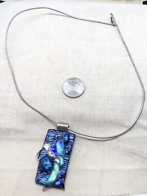 "Vintage Sterling Silver 18"" Dichroic Glass Pendant Necklace 19.19g (B2"