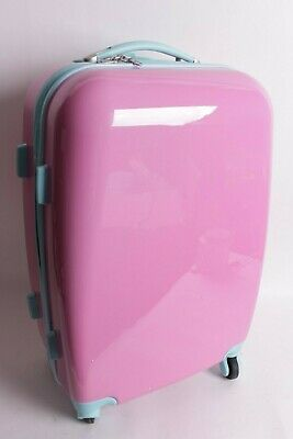 Pottery Barn Kids Fairfax large hard sided pink & aqua rolling luggage spinner