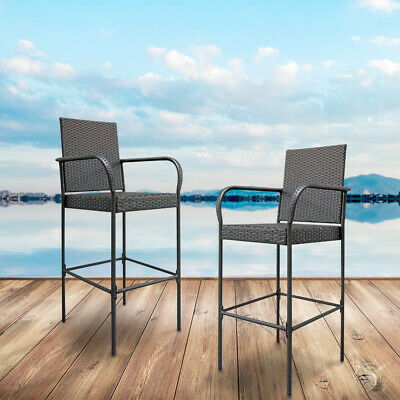 2pcs Rattan Bar High Chairs Bar Stool Seat Kitchen Breakfast Chair Home Garden