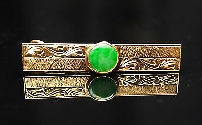 Old Chinese Antique Vintage 18K Gold Natural Green Jade Tie clip Pin Jewelry 886
