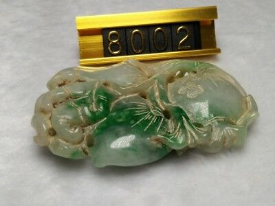 Old Chinese Antique Natural Green Jade Jadeite Carving Pendant Necklace #8002