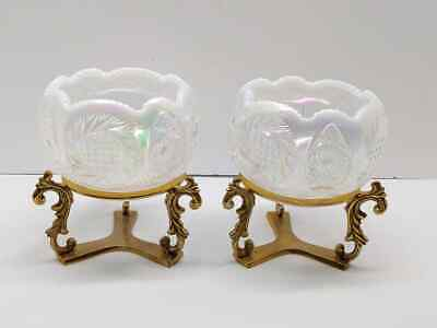 Pair Of Fenton Art Glass French Opalescent Iridescent Rose Bowls W/ Brass Stands