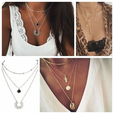 Women Fashion Punk Vintage Lotus Cross Shell Multilayer Pendant Choker Necklace