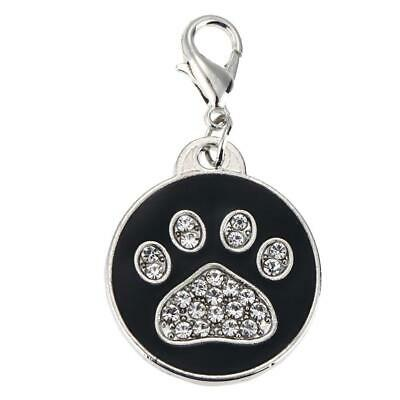 Pet Cat Dog ID Tags Personalized Round Bone Paw Pattern Alloy Crystal Tag