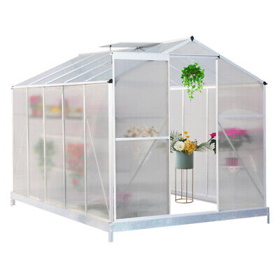 Clear Polycarbonate Greenhouse Aluminium With or without Base Slide Door Silver